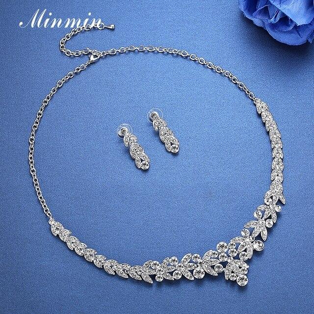 Minmin Cristallo Foglia Set di Gioielli Da Sposa per Le Donne di Promenade Nuziale Degli Orecchini Della Collana Set Beads Africani Parure TL206