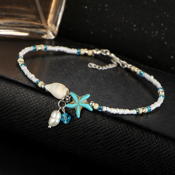 IF ME Fashion Bohemian Imitation pearls Starfish Charms Bracelets Anklets For Women Summer Foot Chain Shell Jewelry Gift 3