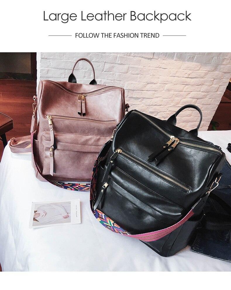 HTB1zOGraELrK1Rjy0Fjq6zYXFXav Retro Large Backpack Women PU Leather Rucksack Women's Knapsack Travel Backpacks Shoulder School Bags Mochila Back Pack XA96H