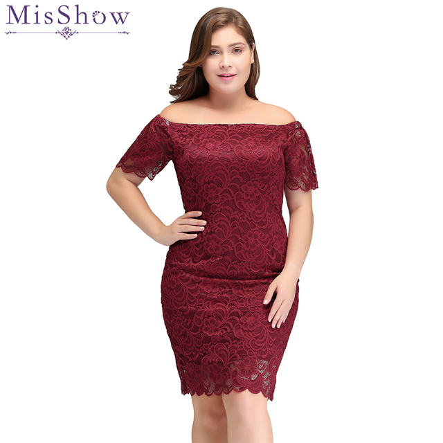Burgundy Short Cocktail Dresses Plus size 2018 Sexy Lace Knee Length ...