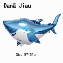 Big blue shark balloons boy Animal theme Birthday party Decoration ocean Balloon baby shower octopus shell Inflatable Ball(China)