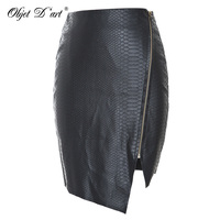 New Update Women Personalized Wearing Fashion Design Unique Punk Irregular PU With Zipper Sexy Short Black