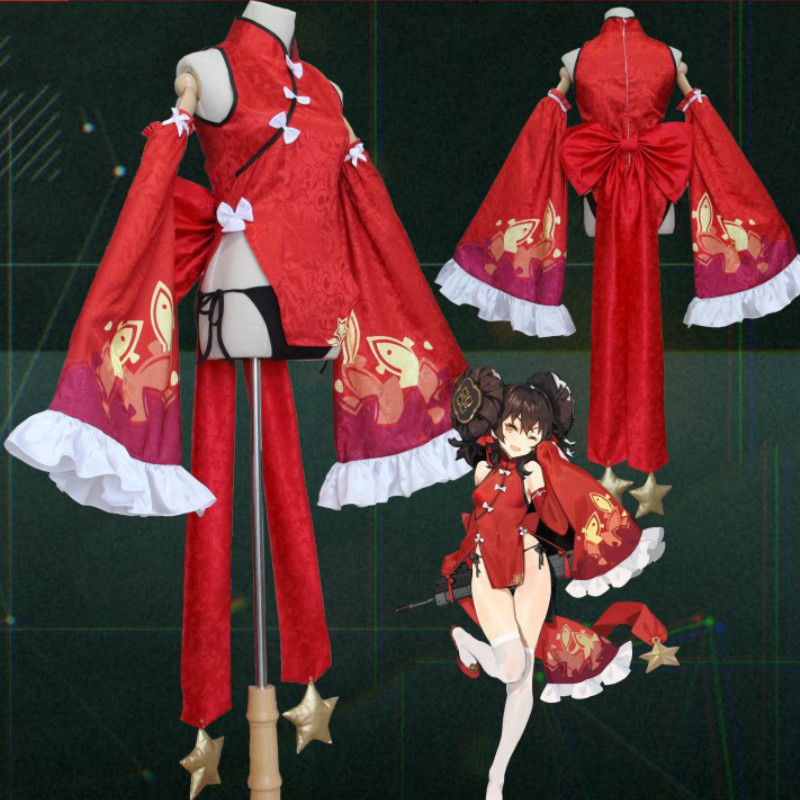 Cos Girls Frontline Cosplay Costume Game Cosplay DSR97 New Year Qipao Red cheongsam 97 Automatic Rifle