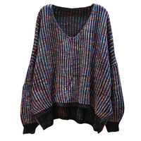 Women Rainbow Colorful V neck Sweater Oversized knitting Pullover Lady Winter Striped Female Tops Plus Size