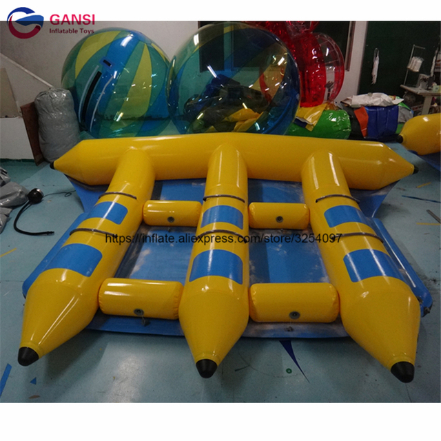 Customized color 6 persons inflatable flying fish boat sea sport game inflatable banana boat three tubes flyfish water equipment