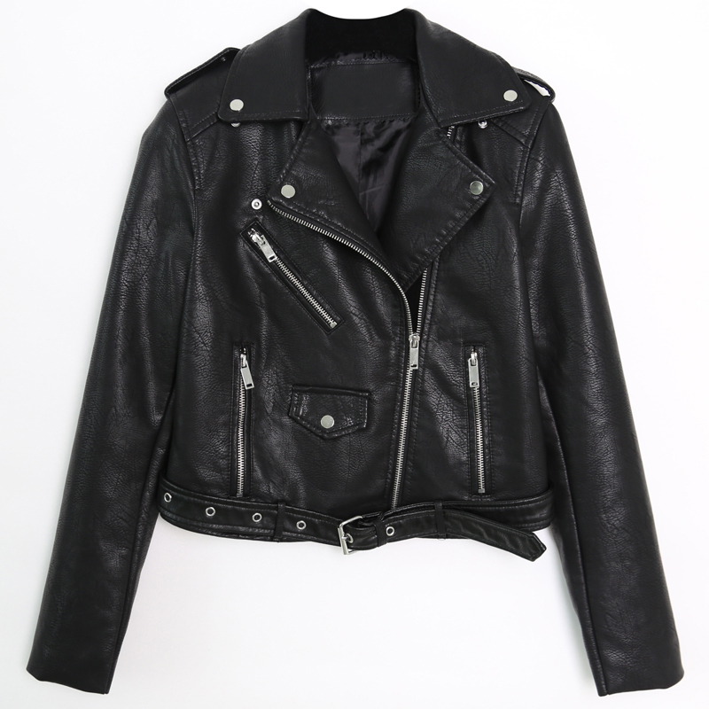 Turndown Collar Pu Leather Women Pu Leather Jacket Biker Female Motorcycle Jacket