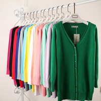 Candy Color Long Cardigan Women Sweater 2015 Autumn Spring Knitted Women Jacket Open Stitch Long Sleeve