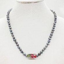 """4-22-1307# натуральный черный жемчуг ожерелье 18"""""""