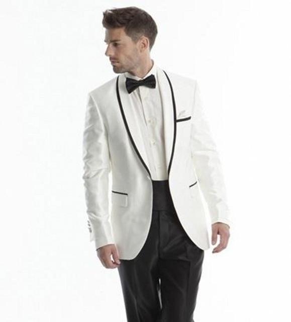 Mejor Venta 2017 Diseño Único Por Encargo de Los Hombres de Los Trajes Slim Fit Trajes de Boda Para Los Hombres Smoking Traje de boda (chaqueta + Pant)