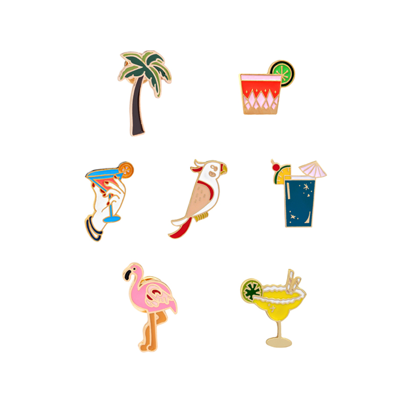 Hot Sale Summer Style Cartoon Flamingo Coconut Tree Parrots Lemon Juice Beach Cup Enamel Brooches Collar Denim Shirt Brooch Pins