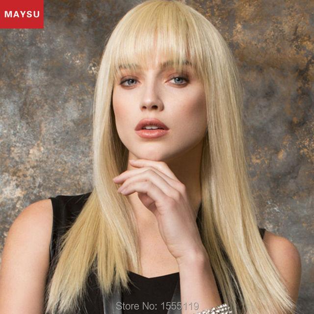 Clásico Pelo Virginal Brasileño Rectas Largas Pelucas de Pelo Humano Para Las Mujeres Blancas Elegantes MAYSU Explosión Aseada peluca Rubia Estilo Europeo