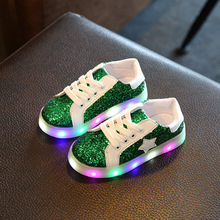 2017 Casual Kids Shoes Light Led Children Golden Shoes Leather Luminous Glowing Sneakers Stars Baby Toddler Boys Grils Shoes LED(China)