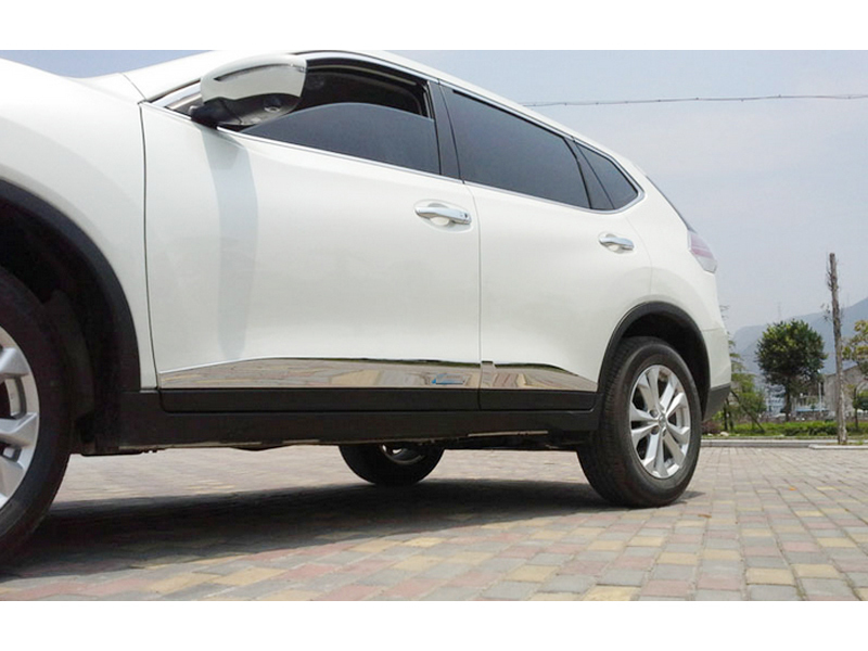 ABS Chrome Outer Car Side Door Body Molding Streamer Decorative Cover Trim For nissan Rogue X-Trail 2014 2015