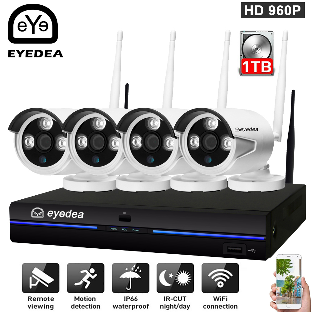 Eyedea 4CH 960P Wireless CCTV security Set Wifi NVR Kit Waterproof outdoor Home Security IP camera Video surveillance system Kit