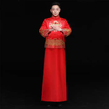 Embroidered Dragon costume Robe Men Costume show red chinese style vintage Clothing male loose Groom dragon gown Mandarin Jacket