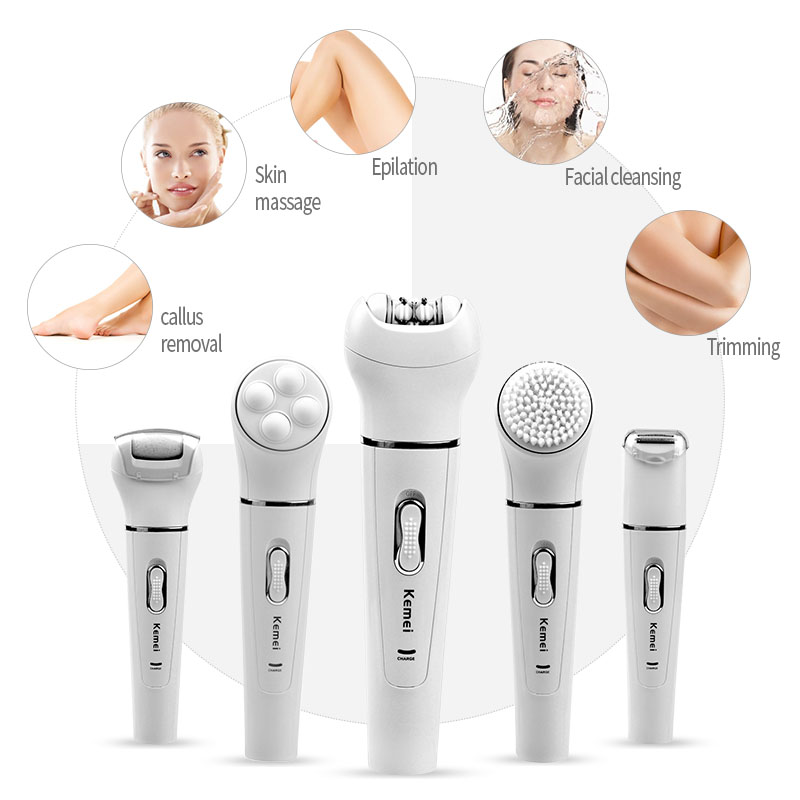 Kemei 5 in 1 Epilator Women Shaver Hair Removal Facial Cleansing Brush Face Skin Care Tool Foot Callus Remover+Body Massager 5 in 1 women shaver wool device electric shaver razor women epilator shaving lady s shaver callus remover facial cleansing brush