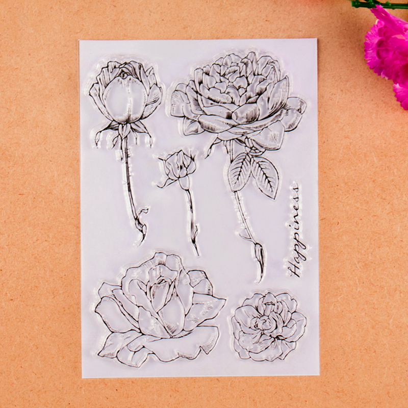 Roses Happiness Transparent Clear Stamp For DIY Scrapbooking Decorative card making craft happiness basics толстовка