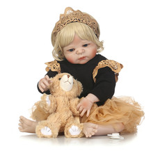 55cm Fashion Curly girl Full Body Silicone Reborn Baby Doll Toys Play House Toys Lifelike Doll Newborn Girl Babies Brithday toys все цены