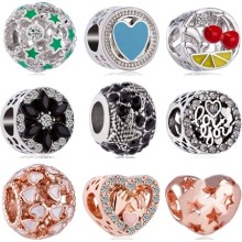 Btuamb New Fashion Gorgeous Enamel Bow Tree Heart Star Charms Beads Fit Pandora Necklaces for Women Valentine's Day DIY Jewelry(China)