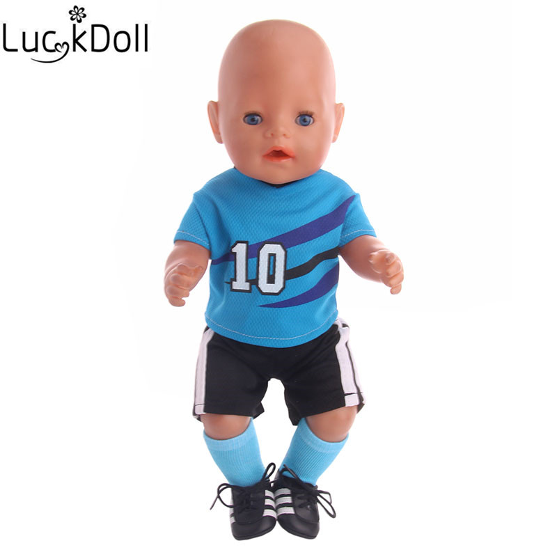 Luckydoll Blue Football Suit Suitable Fit 43 Cm Baby Doll Accessories Christmas Gift For Selection