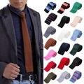 Hombres con estilo moda Solid Tie tejer punto corbata del lazo estrecho flaco delgado tejido