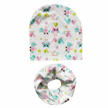 2Pcs/Set Cotton Baby Hat Scarf Spring Cartoon Print Children's Caps Scarves Boys Girls Soft Beanie Collar Autumn Child Hat Set