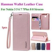 Hanman Флип кожаный чехол для Nokia 3 5 6 7 Plus 8 Sirocco повесить веревку серии подлинный кошелек слот для карт чехол