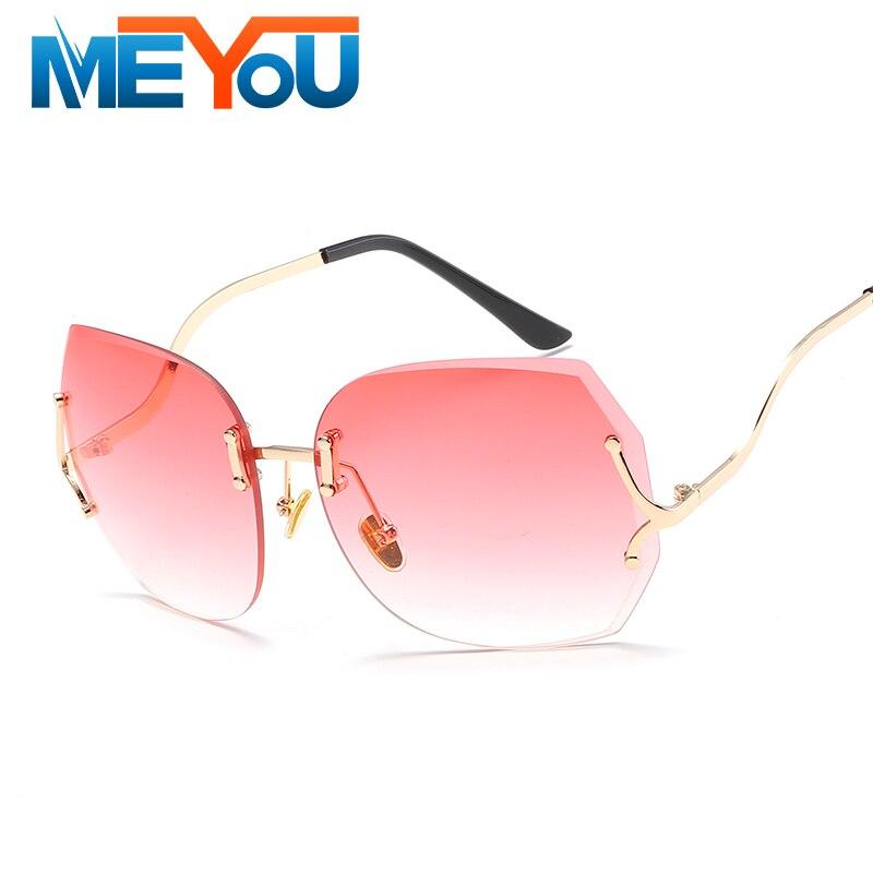 24bf6fec86 Rimless Gradient Classic Sunglasses Optics Metal Frame Eyeglasses Women Men  Vintage Sun Glasses Frame Retro Oversized UV400