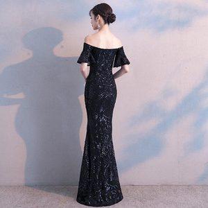 Image 2 - FADISTEE חדש הגעה אלגנטי המפלגה שמלות שמלת ערב Vestido דה Festa יוקרה שחור פאייטים קצר שרוולים נשף תחרה סגנון