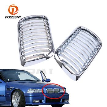 POSSBYA 1 Pair Chrome Plating Car Front Center Wide Kidney Hood Grille Grill For BMW 3-Series E36 M3 Coupe 1996-1998 facelift