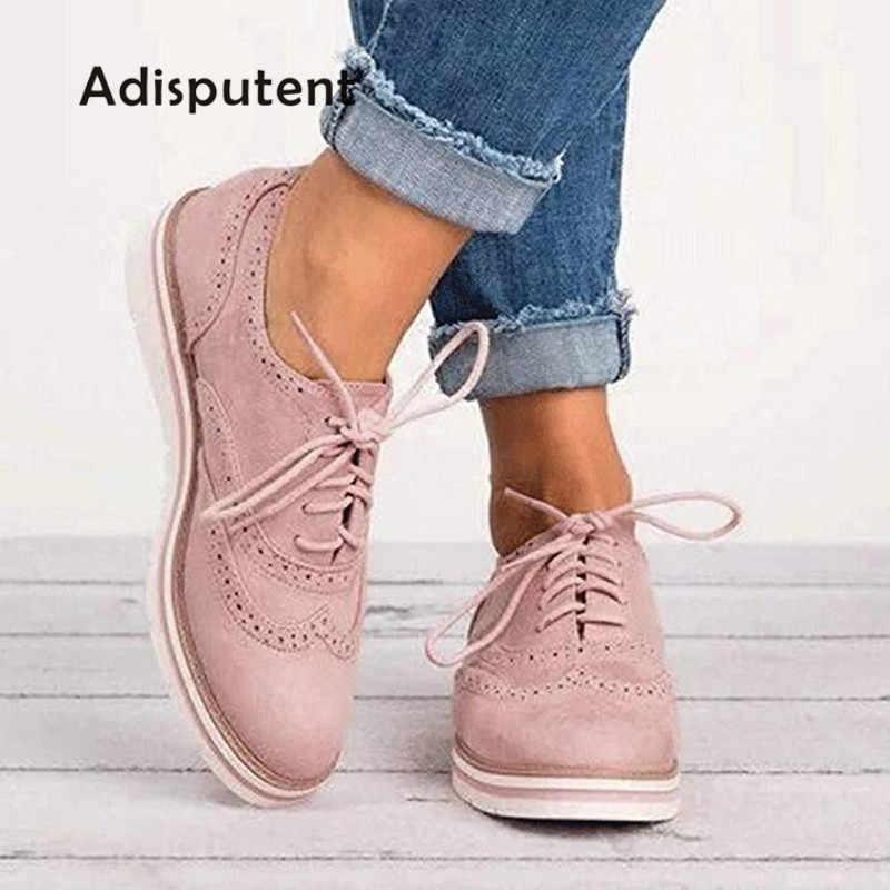 2019 kauçuk Brogue ayakkabı kadın platformu Oxfords İngiliz tarzı sürüngen kesimler Flats Casual kadın ayakkabı ayakkabı