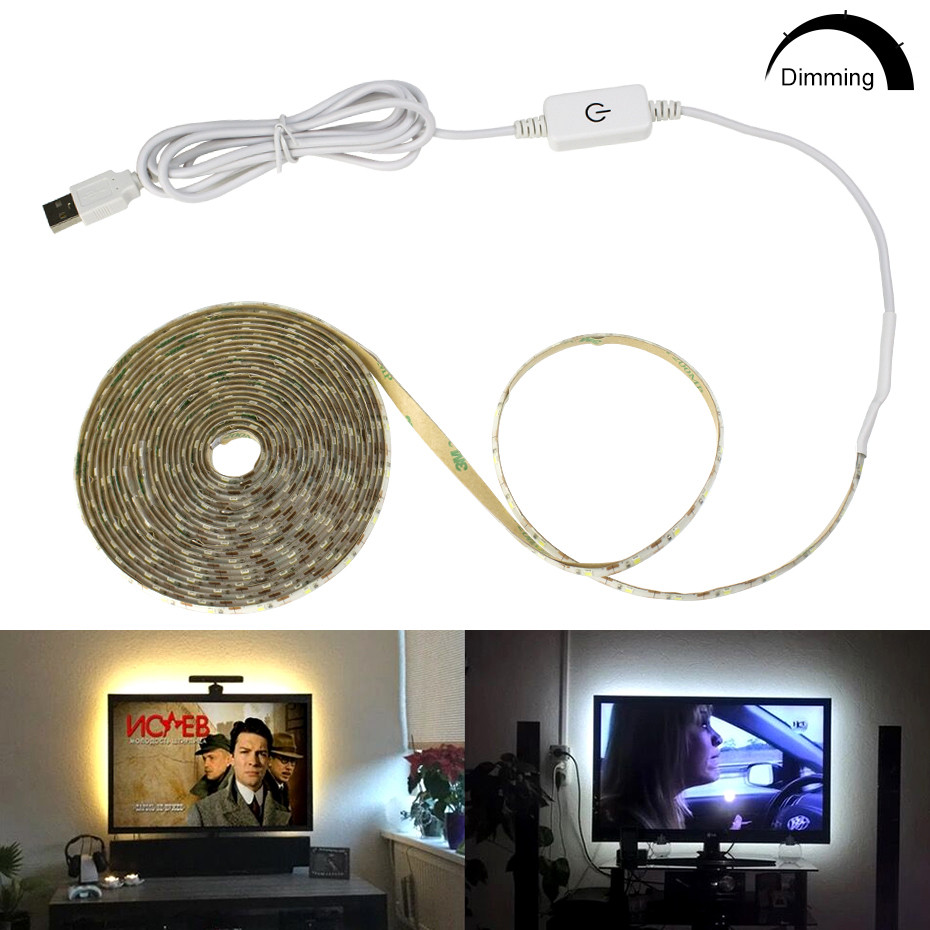 5V USB Power Led Lamp Strip Dimmable Touch Sensing LED Under Cabinet Light HDTV TV Desktop PC Screen Backlight Closet Kitchen A1