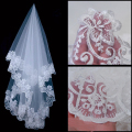 Lady casamento Mantilla catedral véu de noiva bordado borda do laço Long Train grátis Drop Shipping hot sale