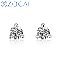 ZOCAI Genuine 18K White Gold (AU750) Real 0.09 CT Certified H / SI Diamond Stud Earrings E00019