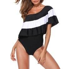One Shoulder Ruffle Print Sexy Bodysuit Women's One Piece Beach Swimsuit Swimwear Bathing Monokini Push Up Padded Bikini PJ4