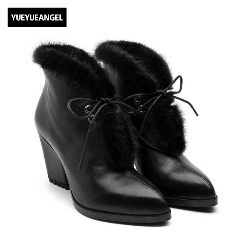 2018 New Office Lady Work Black Genuine Leather Ankle Boots For Women Block Heels Pointed Toe Lovely Fur Trim Party Female Shoes full grain leather women thin heels elegant work ankle boots pointed toe fashion zipper lady office shoes black