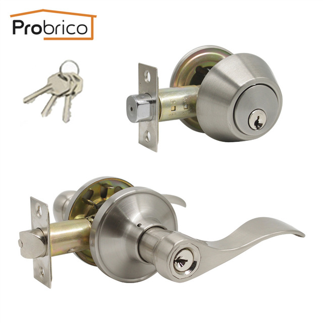Probrico Exterior Locksets Door Lock Handle Set Zinc Alloy Gate Door  Hardware With Deadbolt Home Locks Dead Entry Nickel Lock