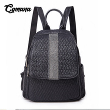 CGMANA Brand Backpack Women 2018 Fashion Diamonds Black School Bag For Teenage Girl High Quality Female Soft Leather Travel Bags