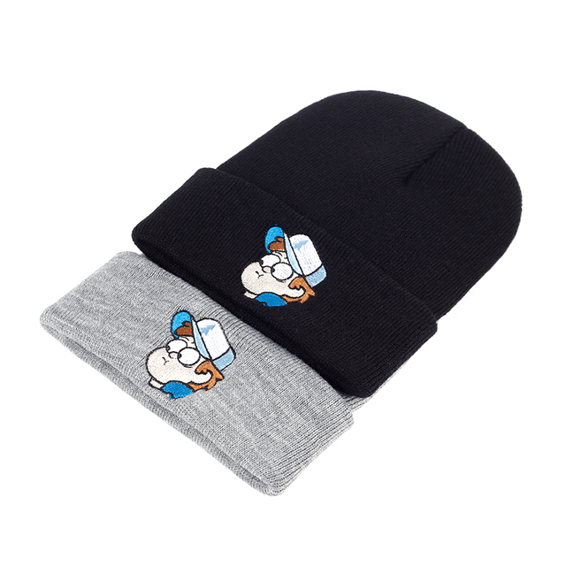 3ff7ed20dd2989 Dipper Pines Beanie Unisex Gravity Falls Embroidery Winter Knitted Hat  Elasticity Cartoon Image Warm Outdoors Skullies Beanies