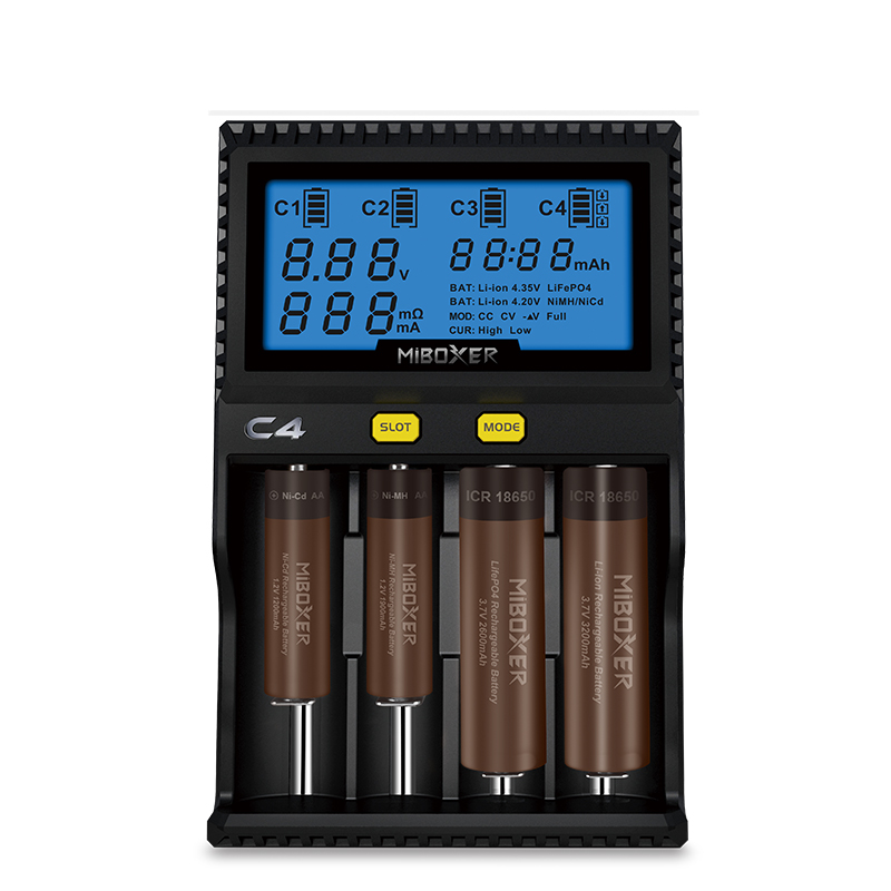 18650 Li-ion IMR INR ICR lifepo4 Smart charger C4 Miboxer for 21700 20700 26650 14500 Charger with LCD Screen Better than C3100 original miboxer c4 lcd battery charger for li ion imr inr icr lifepo4 18650 14500 26650 aaa 3 7 1 2v 1 5v batteries pk vc4