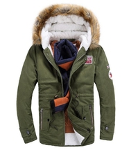 High Quality Fur Collar Parkas New  Mens Winter Jacket  Men's Hooded Wadded Coat Thickening Coat Slim Casual Pure Color Outwear