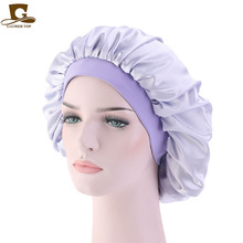 New Women silky bonnet high elastic band Hair Cover Comfortable Night Sleep Cap Ladies Soft satin hat Accessories