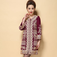 Chinese National Plus Size M 4XL Vintage Winter Coat For Women 2015 Embroidery Long Coat Casaco