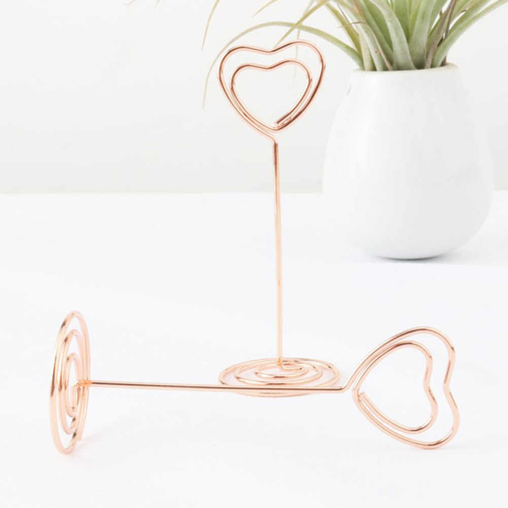 1 Pcs/set Cute Heart Rose Gold / Gold Metal Message Holder Clips Paper Decorations Photo Clips For Message Cards Office Supply