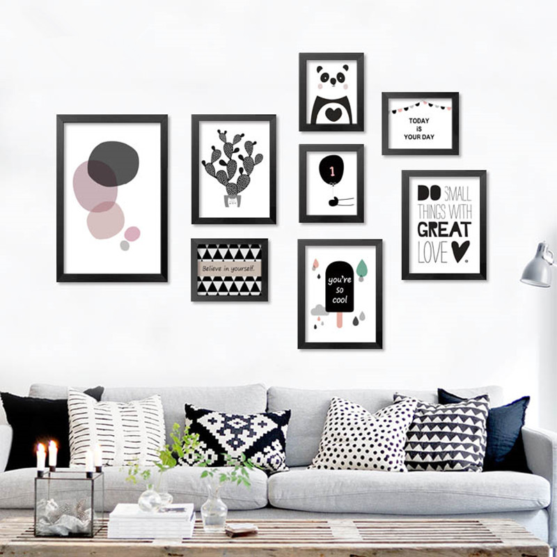 Modern nordic art prints posters cute carton animals on for Black and white mural prints