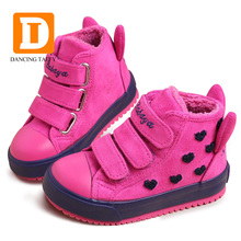 Winter Rubber Girls Boots Fashion Warm Children Shoes Girls Flock Leather Plush Platform Flat Sneakers New 4 Colors Kids Boots(China)