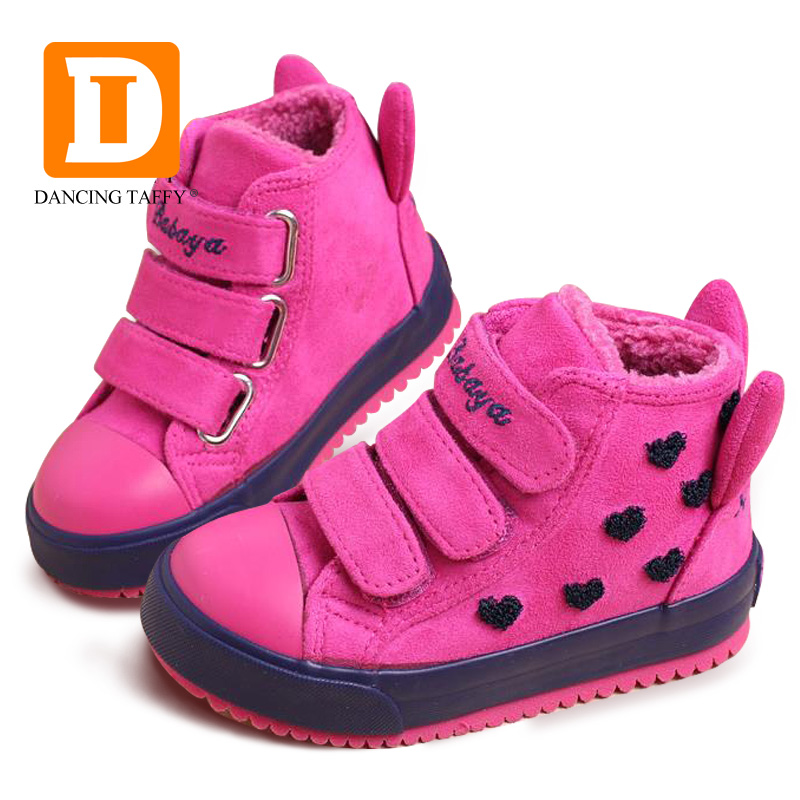 Winter Rubber Girls Boots Fashion Warm Children Shoes Girls Flock Leather Plush Platform ...
