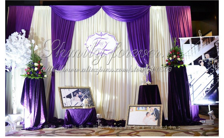 Newly Design 3X3M White+Purple Pleated Wedding Curtains With Swags(China  (Mainland)