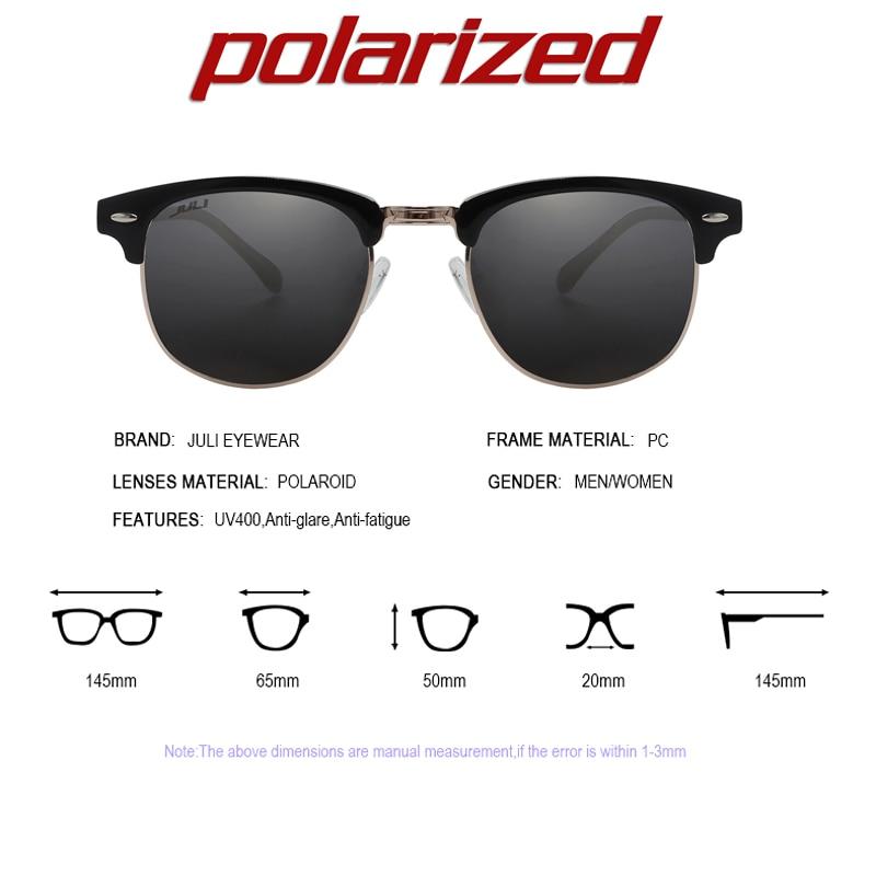 c61ea0556d1683 JULI Polarisées lunettes de Soleil Mode Hommes Marque Designer Semi-Sans  Monture Lunettes de Soleil Rivet Lunettes Homme Femme Unisexe Ocluos De Sol