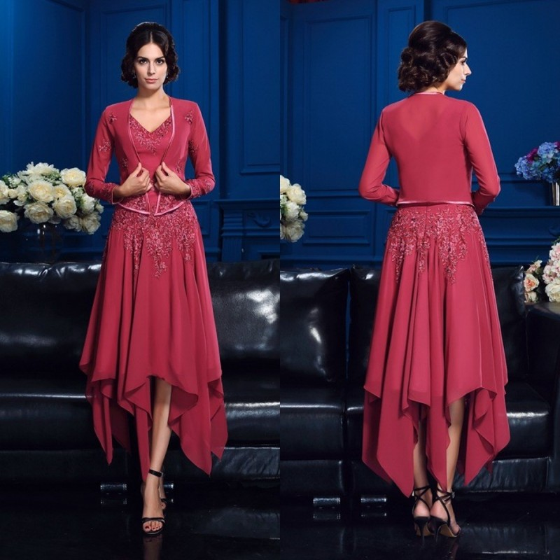 2019 Mother Of The Bride Dresses With Jacket V Neck Satin Evening Gowns Prom Wear Tea-Length Formal Wedding Guest Dress
